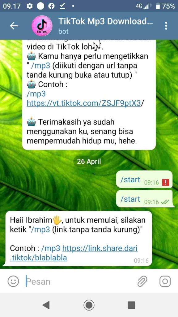 Bot Telegram Untuk Download Lagu TikTok