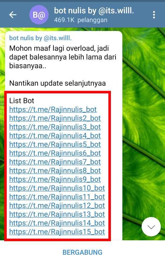 List Bot Nulis Telegram