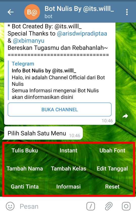 Menu Bot Nulis Telegram