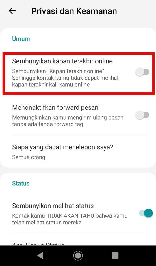 Cara Agar Whatsapp Tidak Terlihat Online dan Sedang Mengetik-4