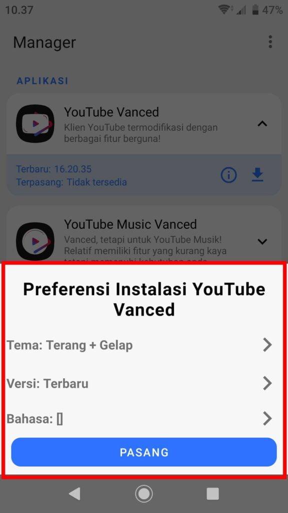 Cara Install Youtube Vanced