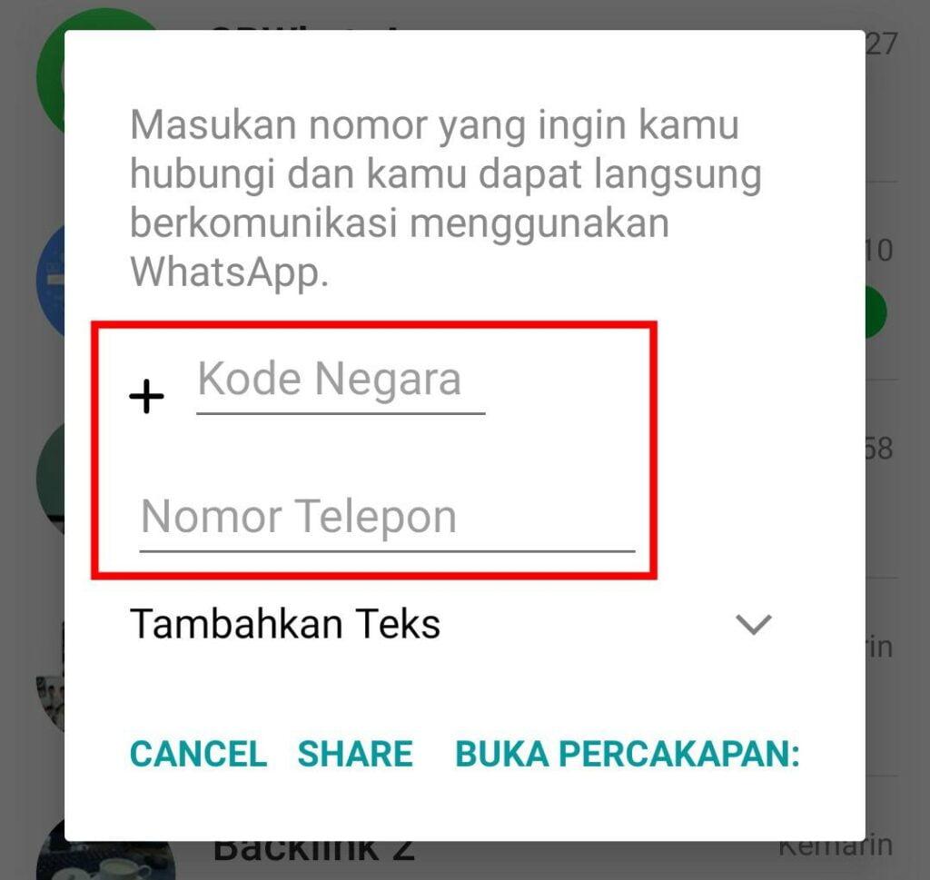 Cara Mengirim Pesan WhatsApp Tanpa Menyimpan Nomor