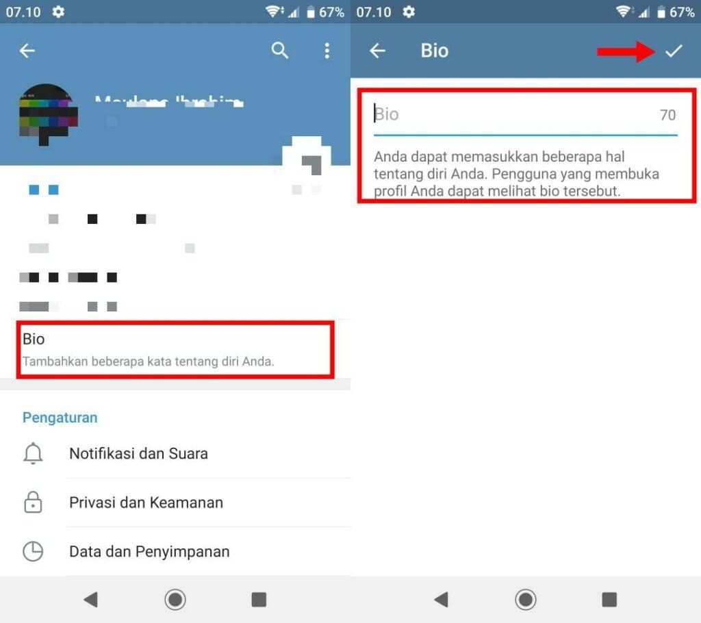 Cara Membuat Bio di Telegram Aesthetic